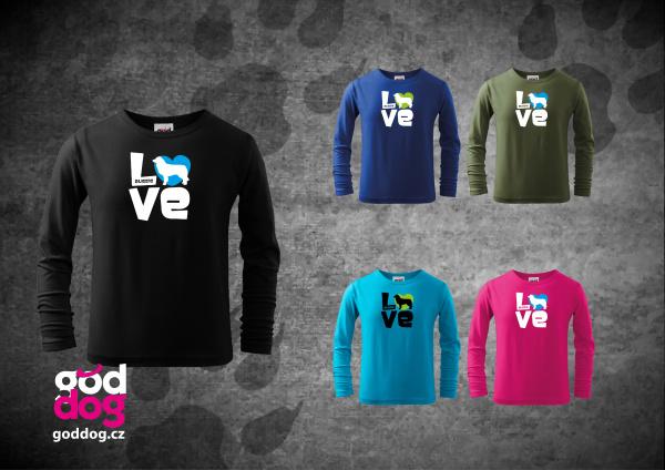 """Dětské triko s potiskem australského ovčáka """"Love"""", dl.rukáv"""