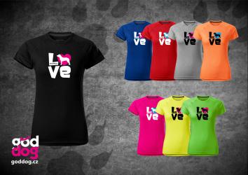 """Dámské funkční triko s potiskem staffbulla """"Love"""""""