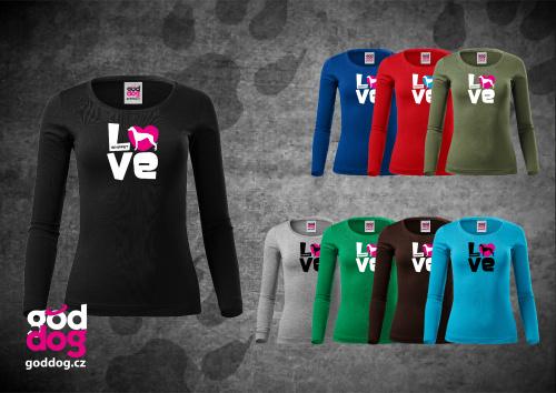 "Dámské triko s potiskem vipeta ""Love"", dl.rukáv"