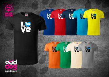 """Pánské triko s potiskem krátkosrsté kolie """"Love"""", org.bavlna"""