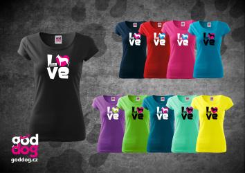"""Dámské triko s potiskem krátkosrsté kolie """"Love"""", kr.rukáv"""