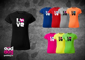 """Dámské funkční triko s potiskem krátkosrsté kolie """"Love"""""""