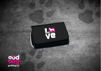 """Dámská peněženka s potiskem krátkosrsté kolie """"Love"""", džinová"""