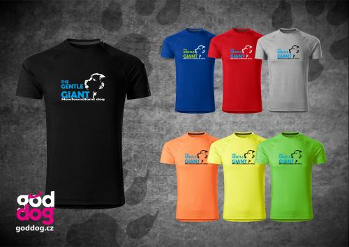 """Pánské funkční triko s potiskem novofundladského psa """"Gentle Giant"""""""