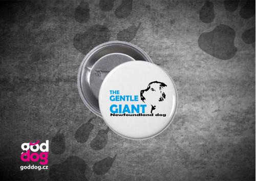 """Placka s potiskem novofundladského psa """"Gentle Giant"""""""