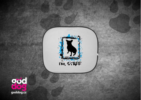 """Autostínítko s potiskem amstaffa """"I'm Staff"""""""