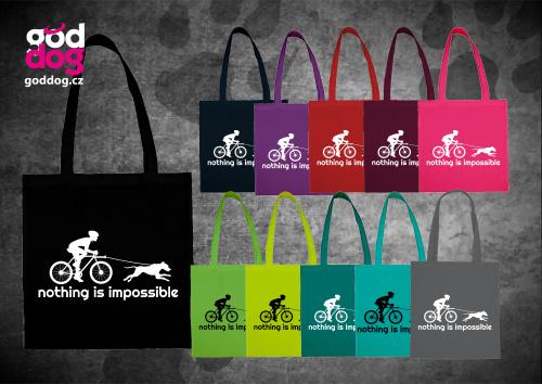 """Nákupní plátěná taška s potiskem bikejöringu """"Nothing is impossible"""""""