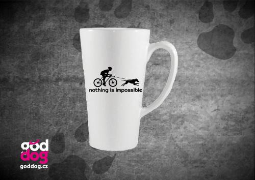 "Latté s potiskem bikejöringu ""Nothing is impossible"""