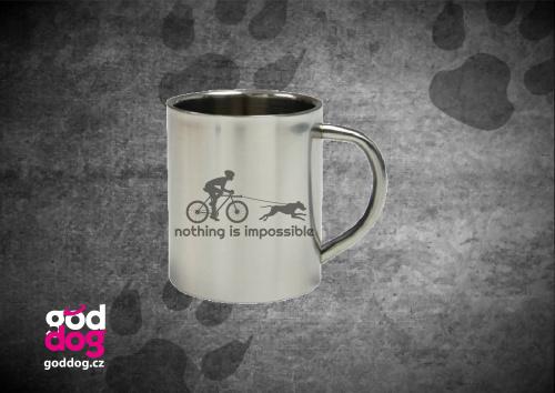 """Nerezový hrnek s potiskem bikejöringu """"Nothing is impossible"""""""