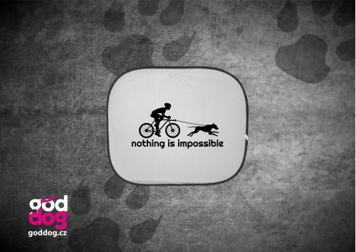 "Autostínítko s potiskem bikejöringu ""Nothing is impossible"""