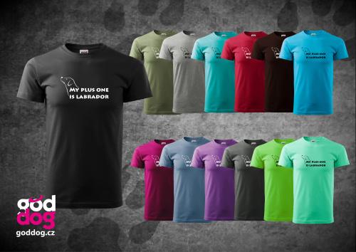 """Pánské triko s potiskem labradorského retrívra """"My plus One"""", kr.rukáv"""