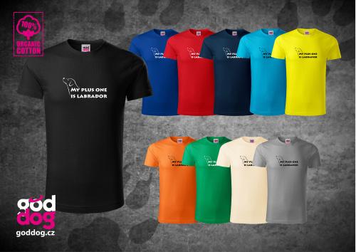 """Pánské triko s potiskem labradorského retrívra """"My plus One"""", org.bavlna"""