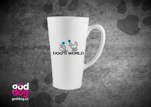 """Latté s potiskem psa """"Dog's World"""""""