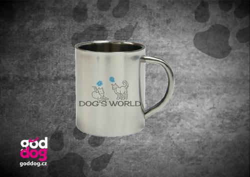 """Nerezový hrnek s potiskem psa """"Dog's World"""""""