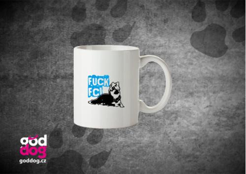 """Keramický hrnek s potiskem chodského psa """"Fuck FCI"""""""