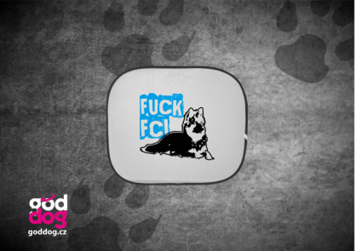 """Autostínítko s potiskem chodského psa """"Fuck FCI"""""""