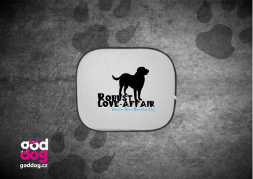 """Autostínítko s potiskem velkého švýcarského psa """"Robust Love-Affair"""""""
