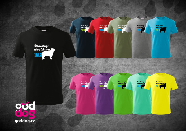 """Dětské triko s potiskem australského ovčáka """"Real dogs"""", kr.rukáv"""