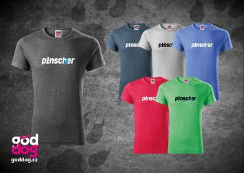 """Pánské triko s potiskem pinče """"Pincher"""", melír"""
