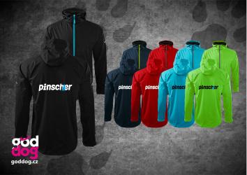 """Pánská soft.bunda s potiskem pinče """"Pincher"""", kontrast.zip"""