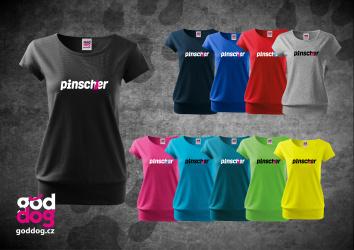 """Dámské triko s potiskem pinče """"Pincher"""", spodní lem"""