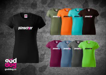 """Dámské triko s potiskem pinče """"Pincher"""", klasik"""
