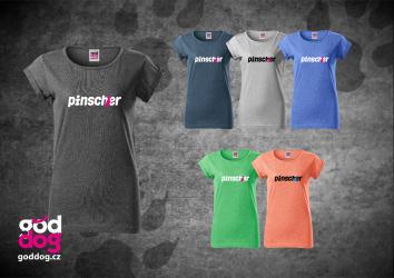 """Dámské triko s potiskem pinče """"Pincher"""", melír"""