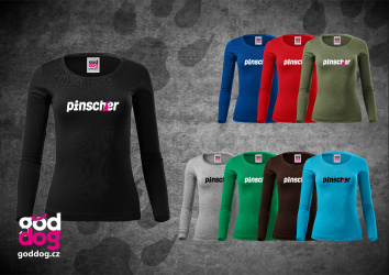 """Dámské triko s potiskem pinče """"Pincher"""", dl.rukáv"""