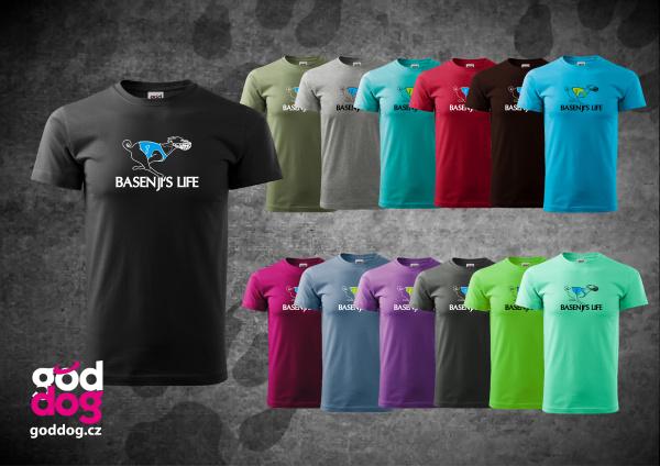 """Pánské triko s potiskem basenji """"Basenji's Life"""", kr.rukáv"""