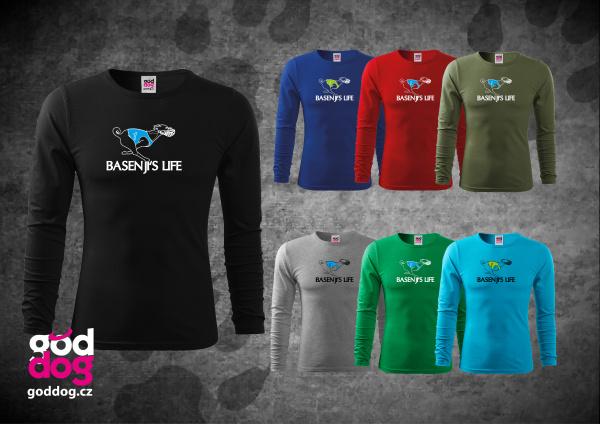 """Pánské triko s potiskem basenji """"Basenji's Life"""", dl.rukáv"""