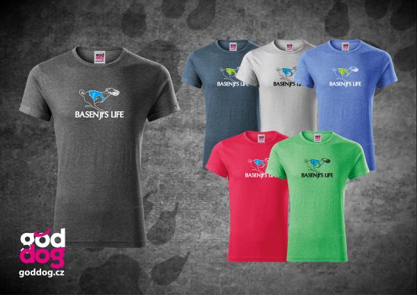 """Pánské triko s potiskem basenji """"Basenji's Life"""", melír"""