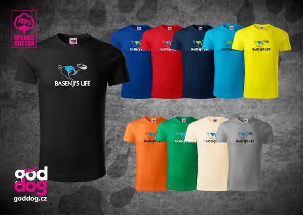 "Pánské triko s potiskem basenji ""Basenji's Life"", org.bavlna"