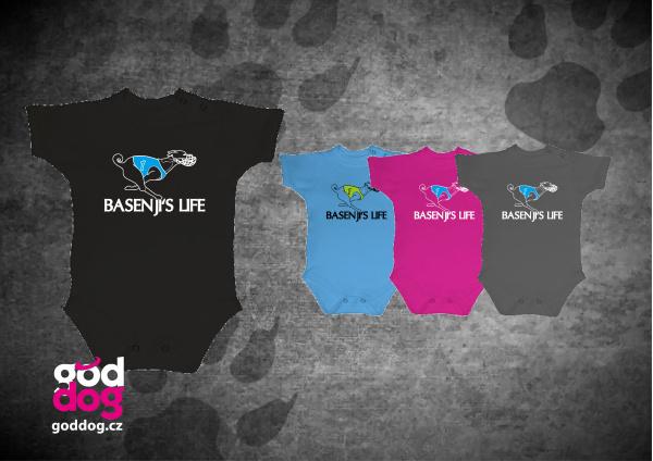 """Dětské body s potiskem basenji """"Basenji's Life"""""""