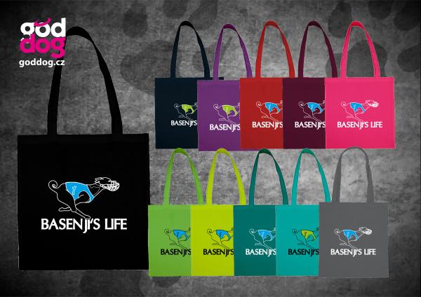 """Nákupní plátěná taška s potiskem basenji """"Basenji's Life"""""""