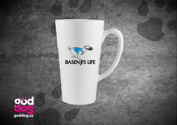 "Latté s potiskem basenji ""Basenji's Life"""