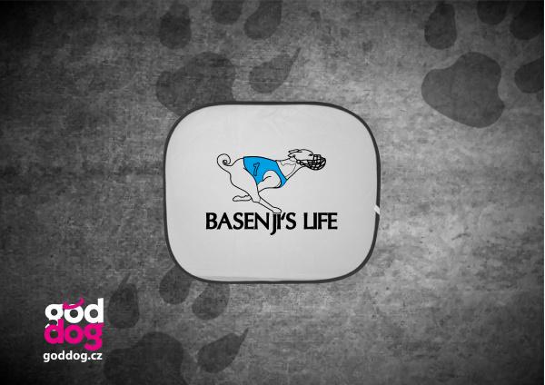 """Autostínítko s potiskem basenji """"Basenji's Life"""""""