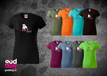 "Dámské triko s potiskem staffbulla ""Staffordshire Bullterrier"", klasik"