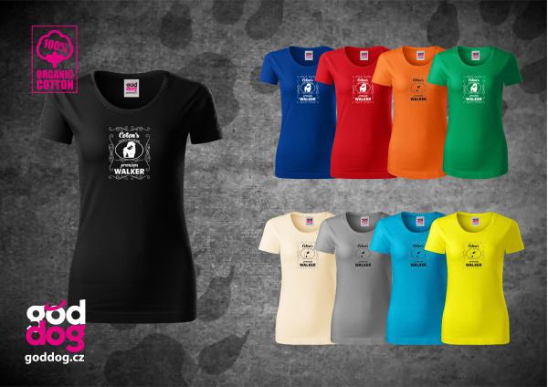 "Dámské triko s potiskem cotonka de tuléar ""Coton Premium Walker"", org.bavlna"