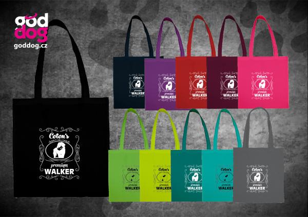 """Nákupní plátěná taška s potiskem cotonka de tuléar """"Coton Premium Walker"""""""