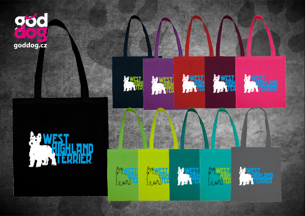 """Nákupní plátěná taška s potiskem west highland teriéra """"WHT"""""""