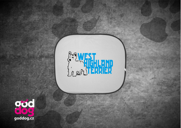 """Autostínítko s potiskem west highland teriéra """"WHT"""""""