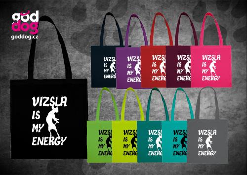 """Nákupní plátěná taška s potiskem maďarského ohaře """"Vizsla Energy"""""""