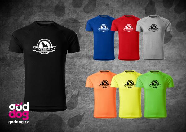 """Pánské funkční triko s potiskem west highland teriéra """"Badge"""""""