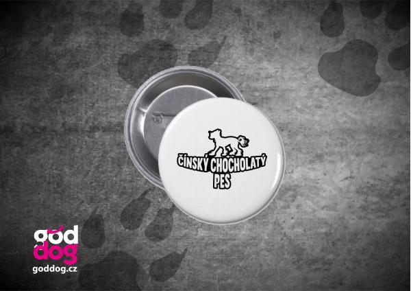 "Placka s potiskem čínského chocholatého psa ""Silueta"""