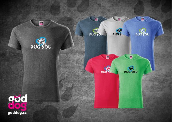 """Pánské triko s potiskem mopse """"Pug you"""", melír"""