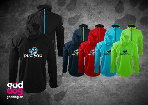 """Pánská soft.bunda s potiskem mopse """"Pug you"""", kontrast.zip"""