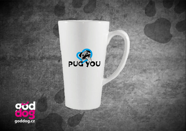 "Latté s potiskem mopse ""Pug you"""
