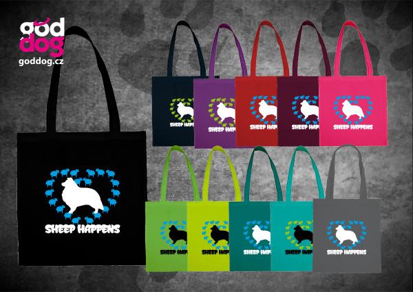 """Nákupní plátěná taška s potiskem šeltie """"Sheep Happens"""""""