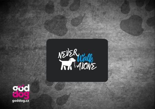 """Podložka pod myš s potiskem psa """"Never walk alone"""""""