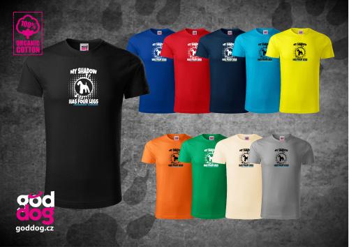 "Pánské triko s potiskem erdel teriéra ""Shadow"", org.bavlna"